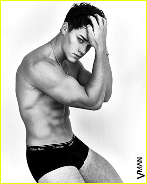 Noah Beck poses in underwear, photographed by Damon Baker