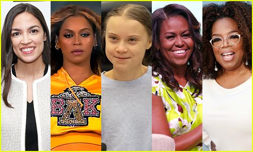 Alexandra Ocasio-Cortez, Beyonce, Greta Thunberg, Michelle Obama, Oprah Winfrey