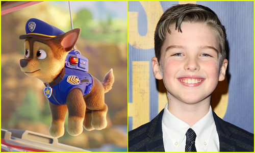 side by side photos of actor Iain Armitage and Chase the police dog