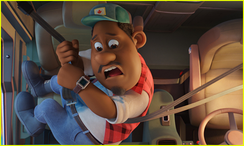 Gus looks really scared while hanging from a seatbelt in Paw Patrol The Movie