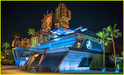 Avengers Headquarters at night at Disney California Adventure