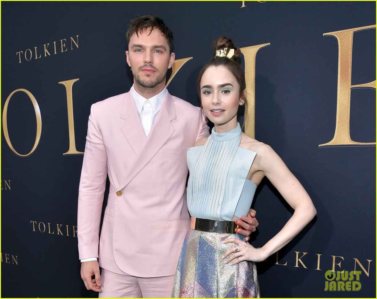 lily collins nicholas hoult look so stylish tolkien premiere 04