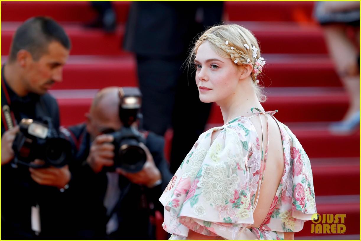 elle fanning floral gown cannes les mis premiere 21