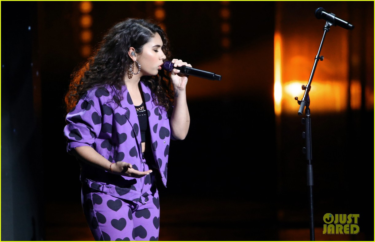 alessia cara heart print suit for latin grammys performance 10