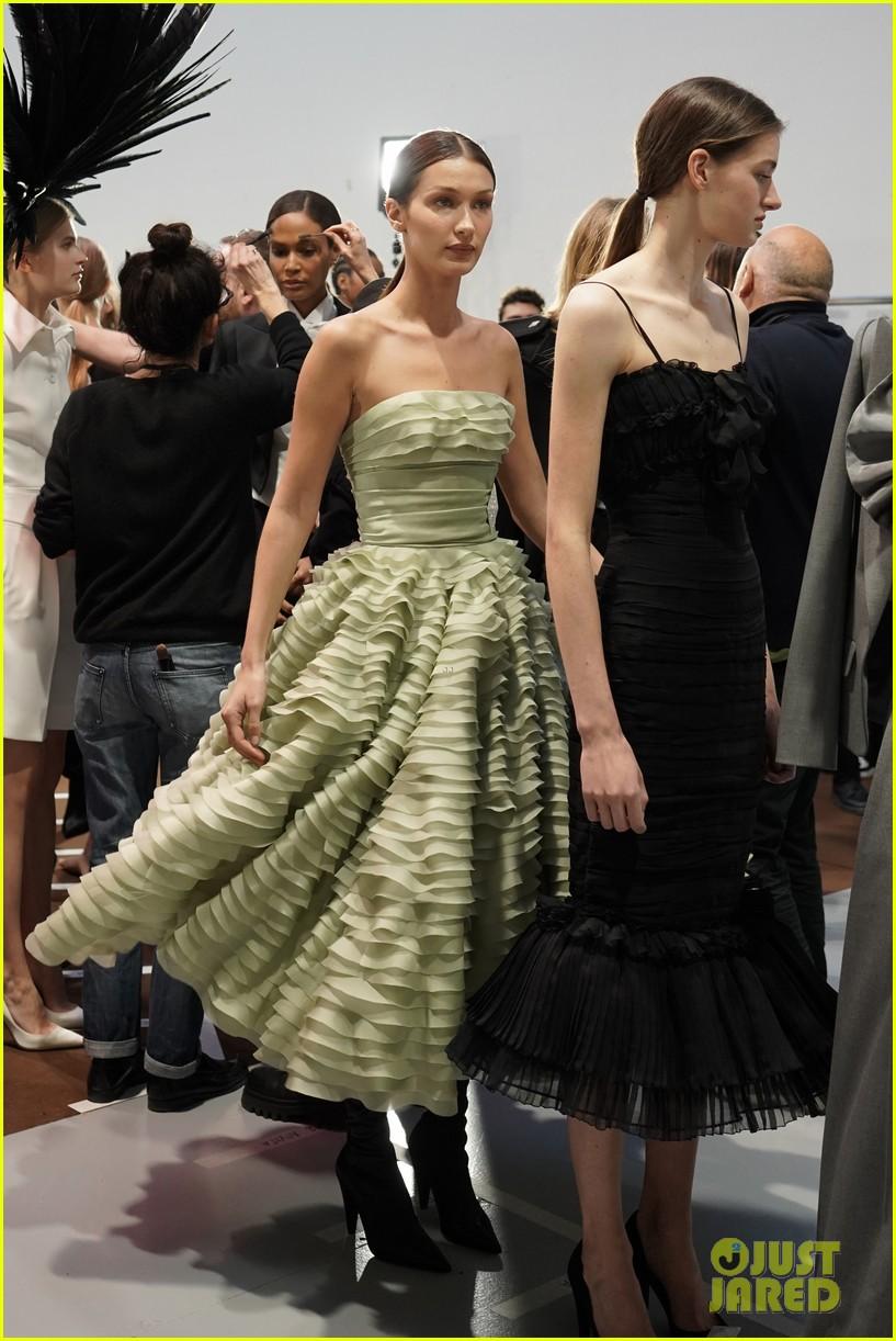 bella hadid green dress joan smalls tux pfw vauthier 12