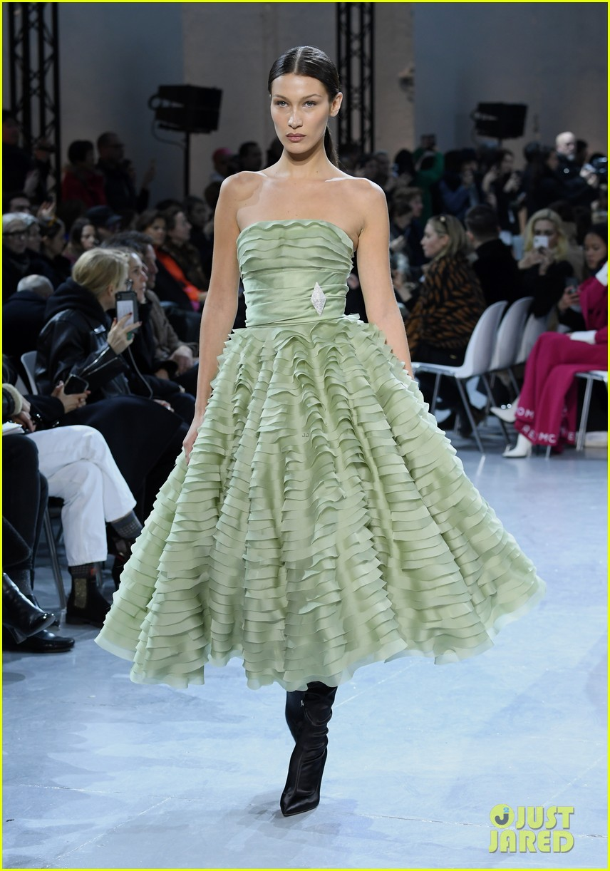 bella hadid green dress joan smalls tux pfw vauthier 17