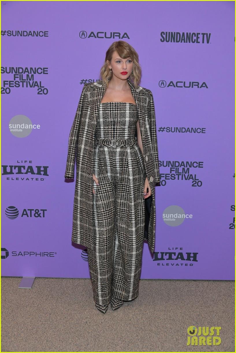 taylor swift rocks plaid jumpsuit coat miss americana sundance premiere 11