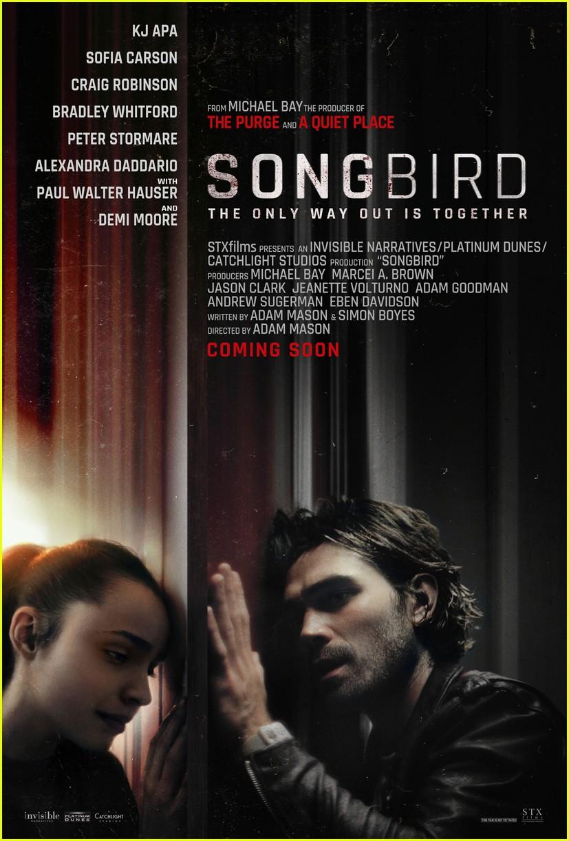 kj apa sofia carson star in songbird trailer 03