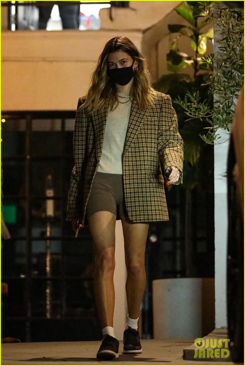hailey bieber shows long legs leaving hair salon 03