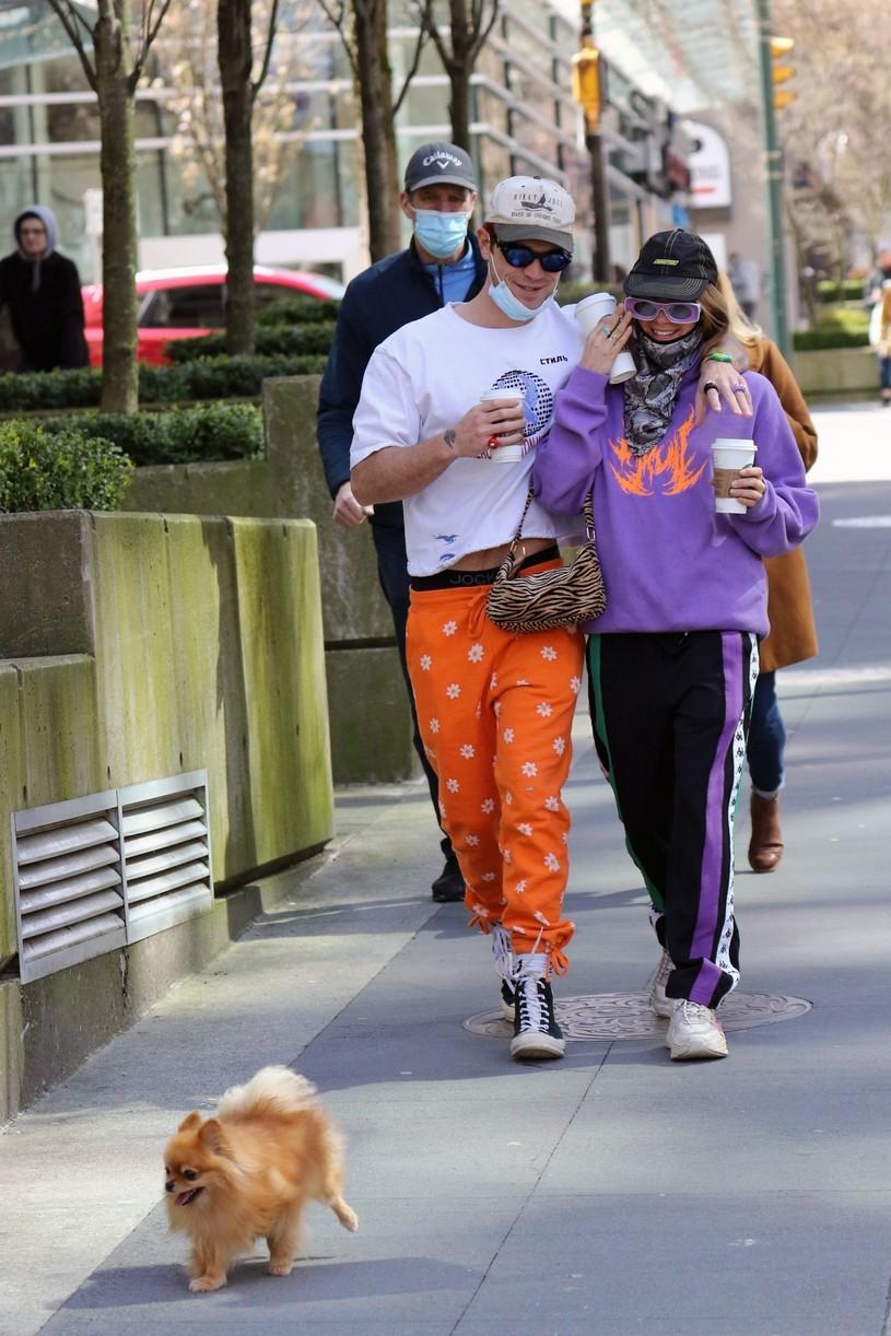 kj apa clara berry coffee walk dog vancouver 12