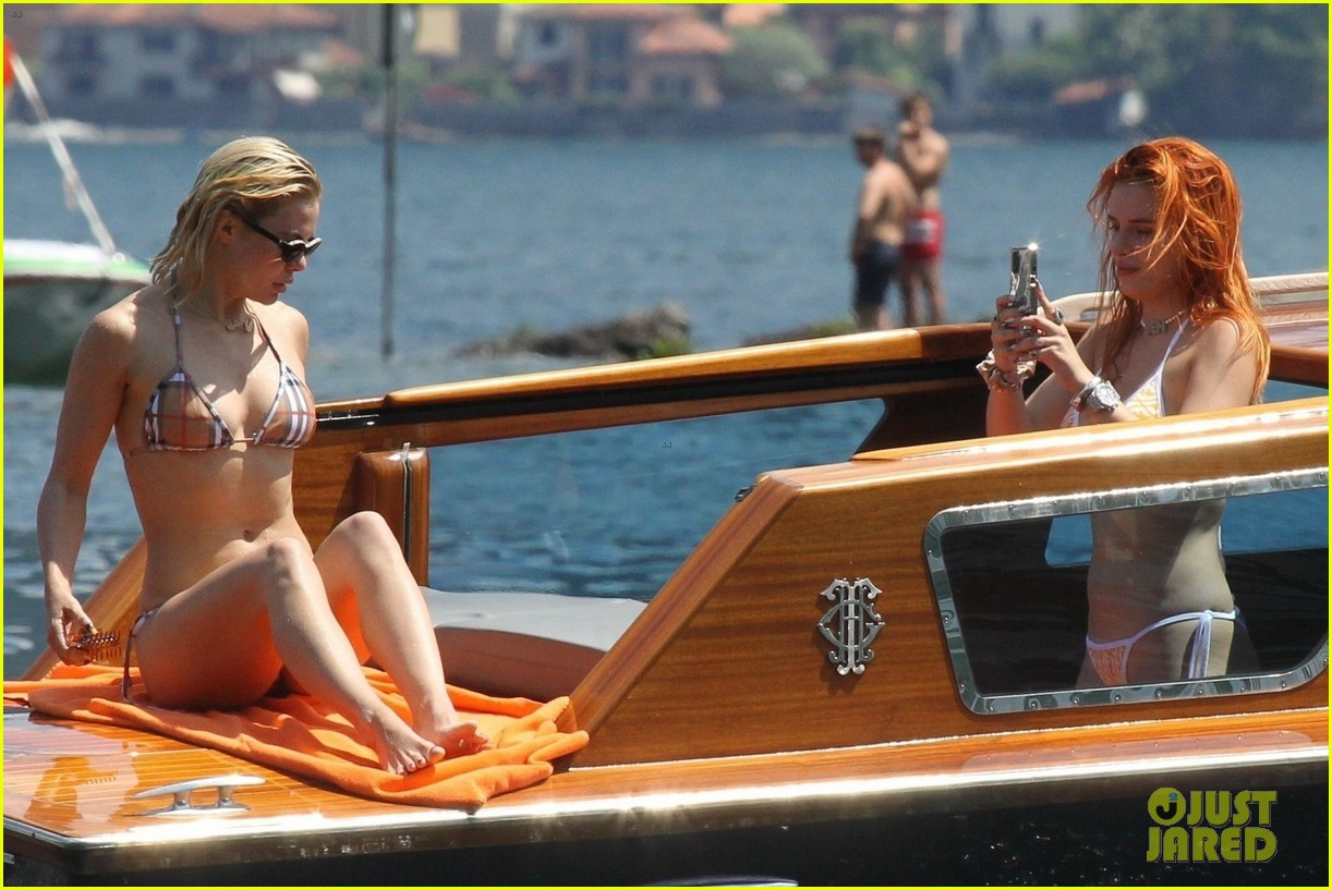 bella thorne yellow bikini lake como with benjamin mascolo 45
