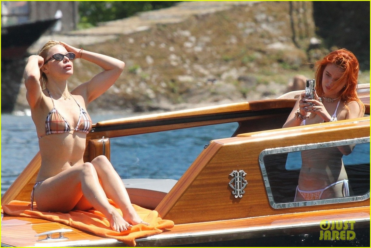 bella thorne yellow bikini lake como with benjamin mascolo 46