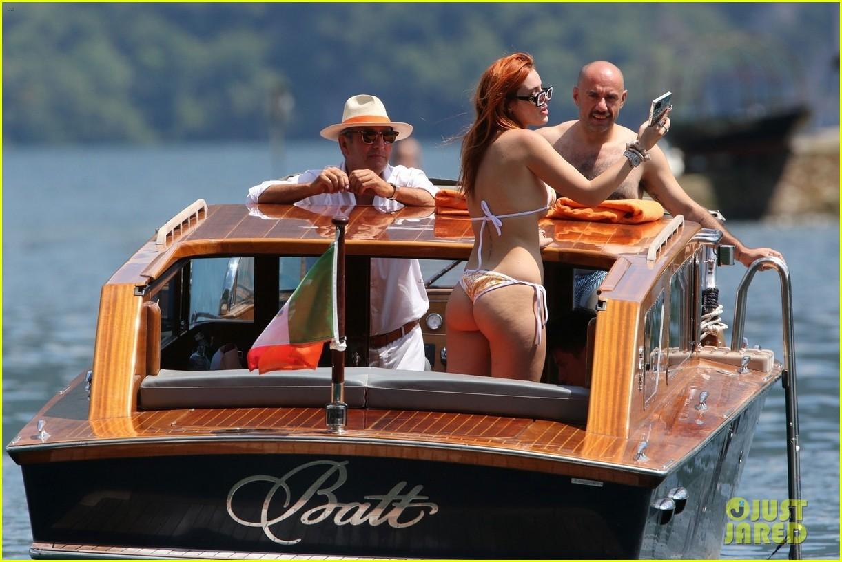 bella thorne yellow bikini lake como with benjamin mascolo 76