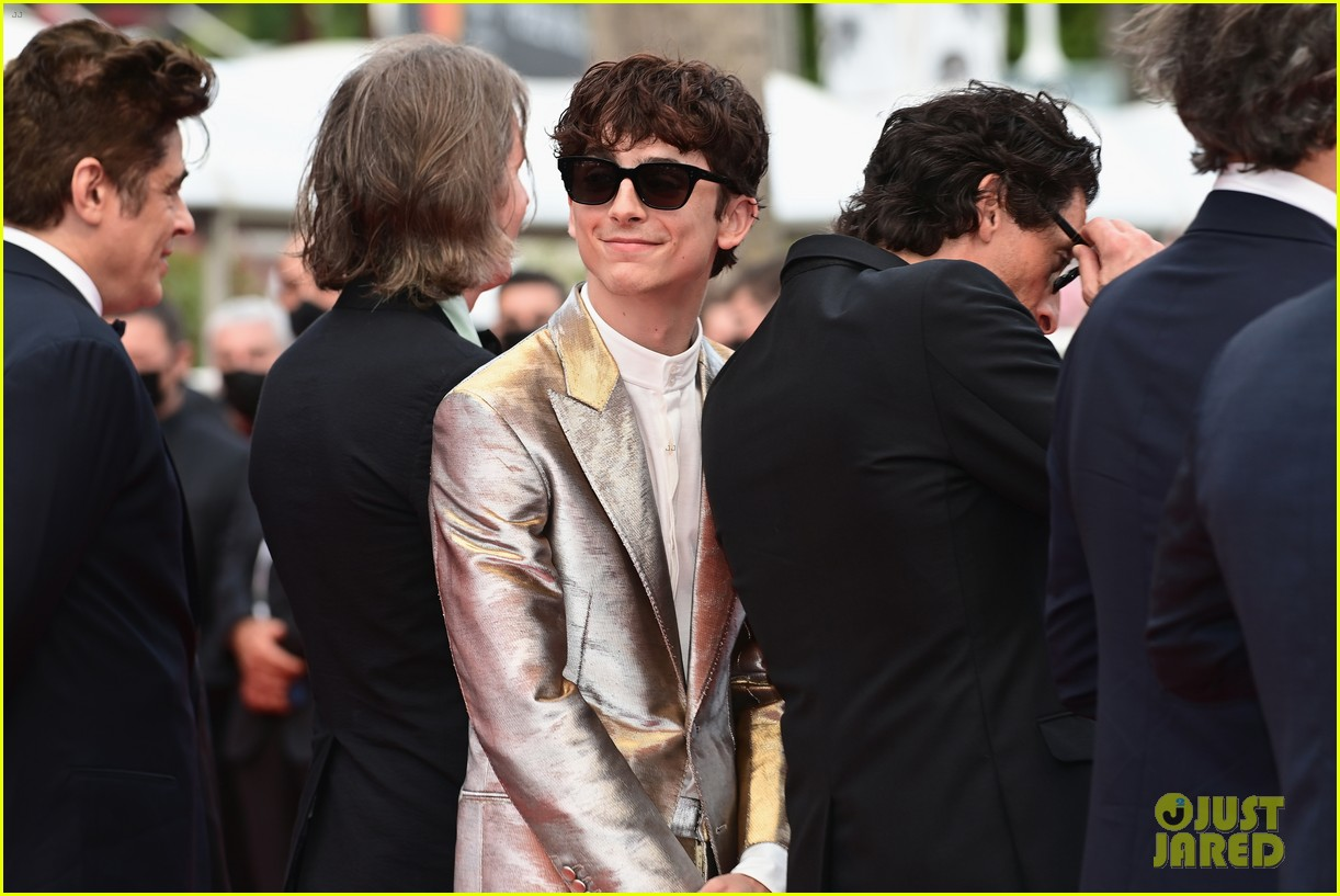 timothee chalamet cozies up to costar tilda swinton at the french dispatch cannes premiere 05
