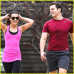 Lea Michele Stretches It Out Before Hike