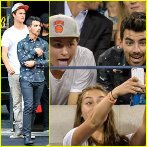 Joe Jonas & Ansel Elgort Take Super Silly Fan Selfies at the U.S. Open!