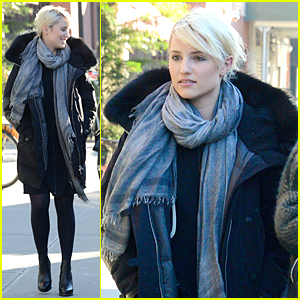 Dianna Agron Braves Cold NYC Weather During Shopping Trip