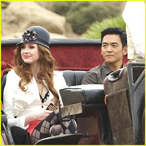 Karen Gillan Catches A Carriage Ride With John Cho on 'Selfie'