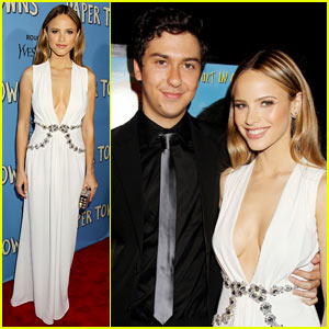 Nat Wolff Attends 'Paper Towns' Premiere with Halston Sage!