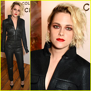 Kristen Stewart Sports Bold Red Lip with Her Black Outfit