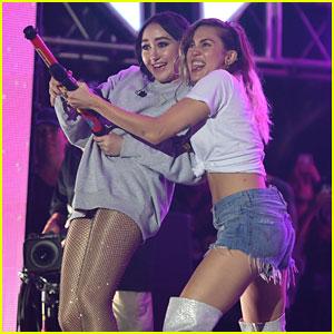 Miley Cyrus & Sister Noah Shoot a Water Gun During iHeartSummer '17 Performance
