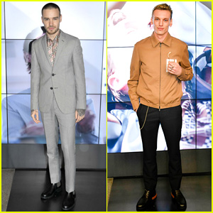 Liam Payne & Jamie Campbell Bower Take Photos at Fendi Show