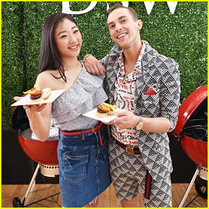 Adam Rippon & Mirai Nagasu Serve Up Cheeseburgers at DSW's Block Party Event