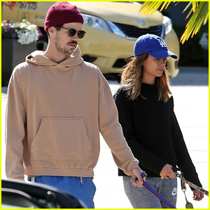 Grant Gustin & Fiancee LA Thoma Go For a Stroll With Their Pups in Vancouver!