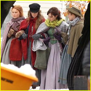 Emma Watson Films 'Little Women' With All Four March Sisters in Massachusetts