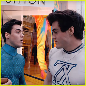 Ethan & Grayson Dolan Shop at Louis Vuitton In Body-Painted Clothes