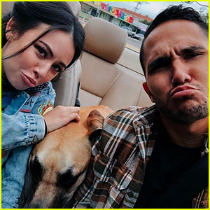 Janel Parrish & Carlos PenaVega Continue Filming 'Mighty Oak' With Larry the Dog!