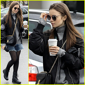 Lily Collins Warms Up With Starbucks On Rainy Day
