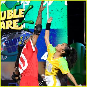 Liza Koshy Shoots Special Super Bowl Episode of 'Double Dare'