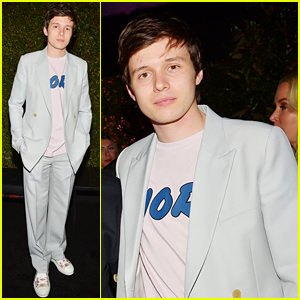Nick Robinson Suits Up in Light Blue for Dior's Pre-Grammys Event