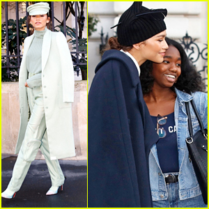 Zendaya Wears Chic Mint Green Suit For TommyxZendaya Fashion Show Casting in Paris