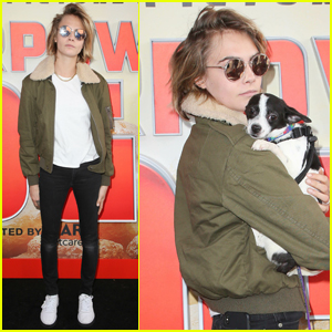 Cara Delevingne Cozies Up to Her Dog at 'Superpower Dogs' Premiere!