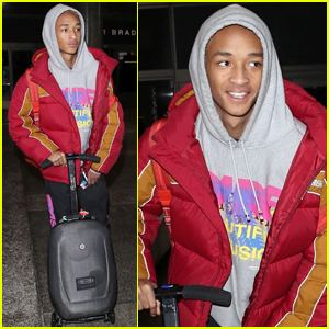 Jaden Smith Rides His Motorized Suitcase Through LAX Airport!