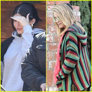 Kylie Jenner & Paris Jackson Keep Low Profiles For Sunday Service