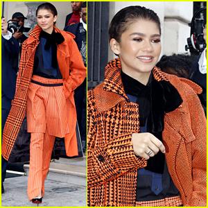 Zendaya Keeps It Classy in Orange & Black While Heading Out in Paris