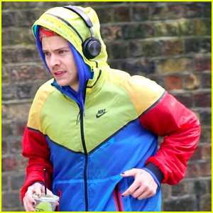 Harry Styles Dons Multicolored Jacket & Nail Polish While Out for a Run