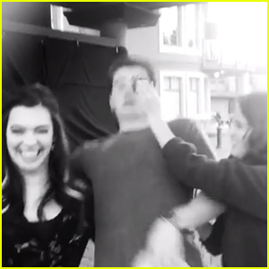 Laura Marano Tried To Smash Pudding in Gregg Sulkin's Face on 'Cinderella' Set - See The Video!