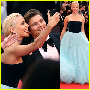 Pixie Lott Breaks Selfie Ban Rule at Cannes Film Festival with Fiance Oliver Cheshire