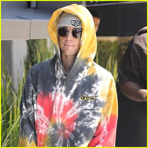 Justin Bieber Hides Inside A Tie-Dye Hoodie in Los Angeles