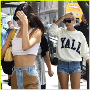 Kendall Jenner & Hailey Bieber Step Out For Lunch Meeting Together