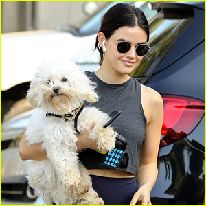Lucy Hale Carries Her Dog, Elvis, After a Hike in LA!