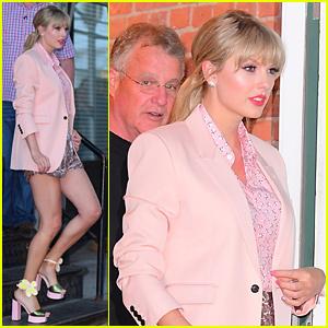 Taylor Swift Sports Cute Flower Heels for Stonewall Inn Surprise Performance