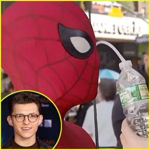 Here's How Tom Holland Drinks While Wearing His Spider-Man Suit