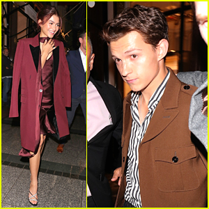 Zendaya Steps Out in Chic Burgundy Look for 'Spider-Man' Cast Dinner