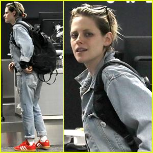 Kristen Stewart Shows Off Her Airport Style in Denim-on-Denim Outfit