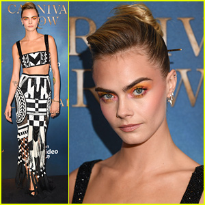 Cara Delevingne Stuns With Pink & Orange Beauty Look for 'Carnival Row' London Screening